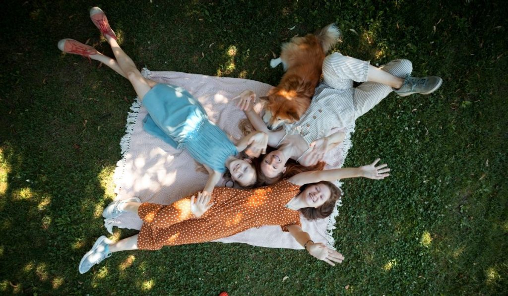corgi with a family lying on the lawn